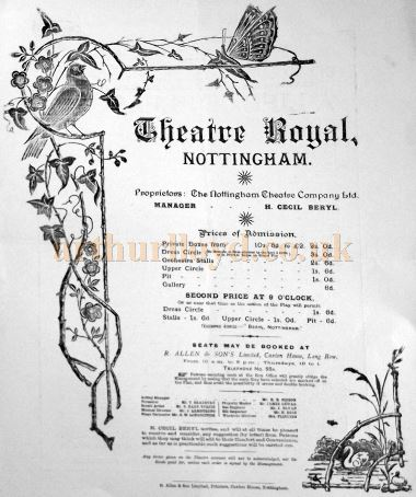 A Programme for 'A Life of Pleasure' at the Theatre Royal, Nottingham for the week of Monday the 17th of September 1894 - Courtesy Roy Cross.