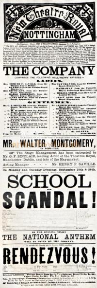 The opening night Bill for 'School for Scandal' at the Theatre Royal, Nottingham on the 25th of September 1865 - From the Theatre's Centenary Year Programme in 1965.