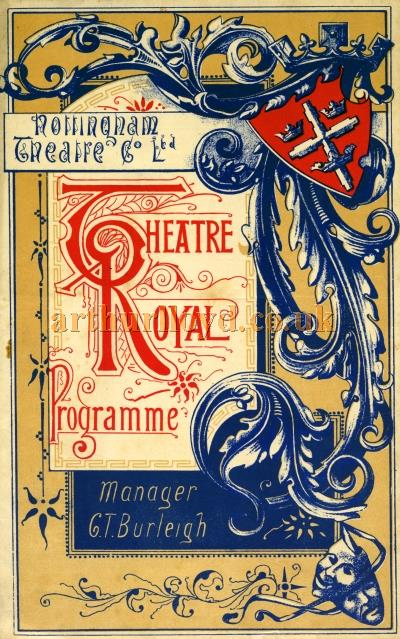 A Programme for 'The New Wing' and 'Boys Will Be Boys' at the Theatre Royal, Nottingham on Monday the 13th of June 1892 - Courtesy John Lamb.