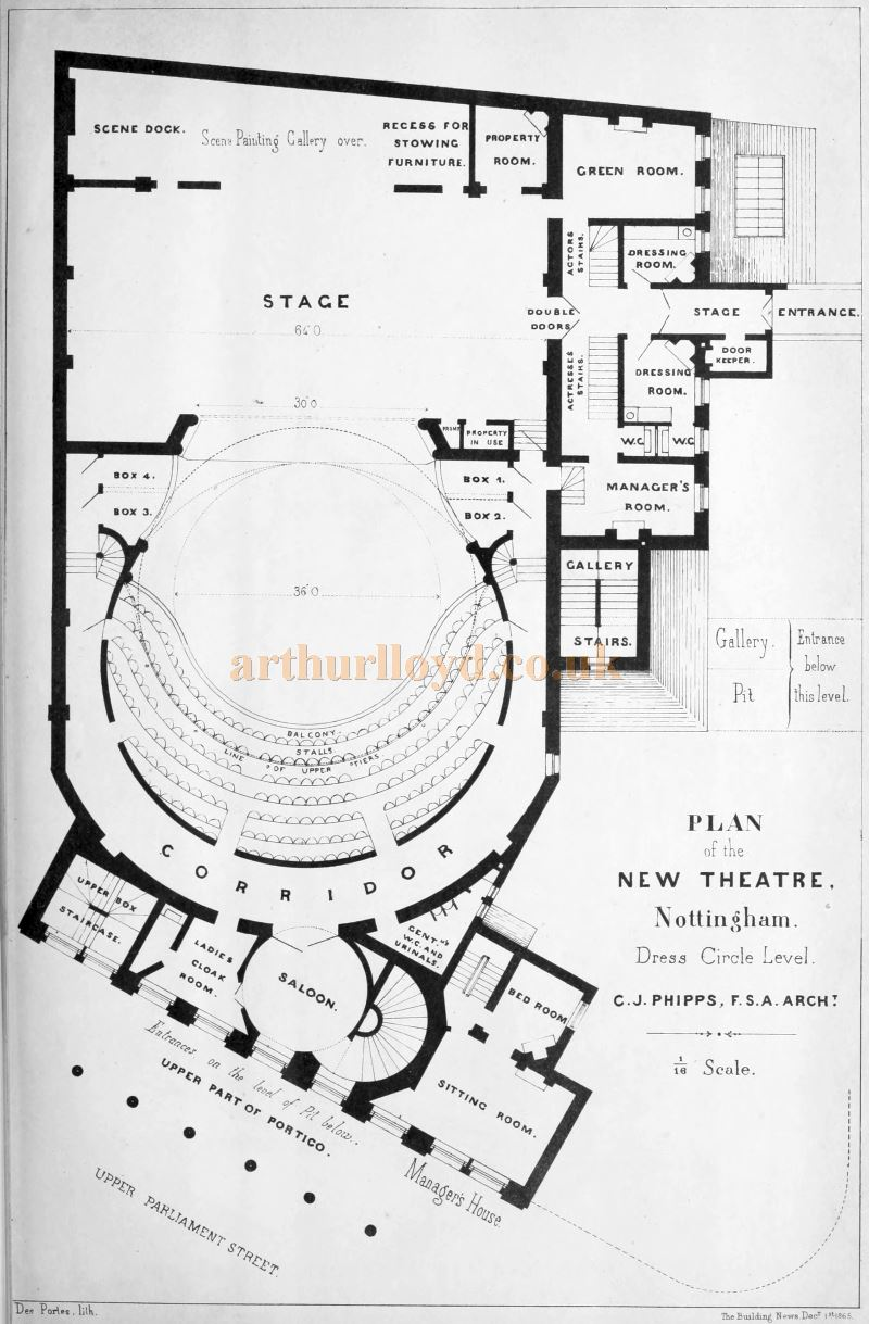 C. J. Phipps's Dress Circle Plan for the Theatre Royal, Nottingham - From 'Building Illustrations Private Houses, Public Buildings and Warehouses'