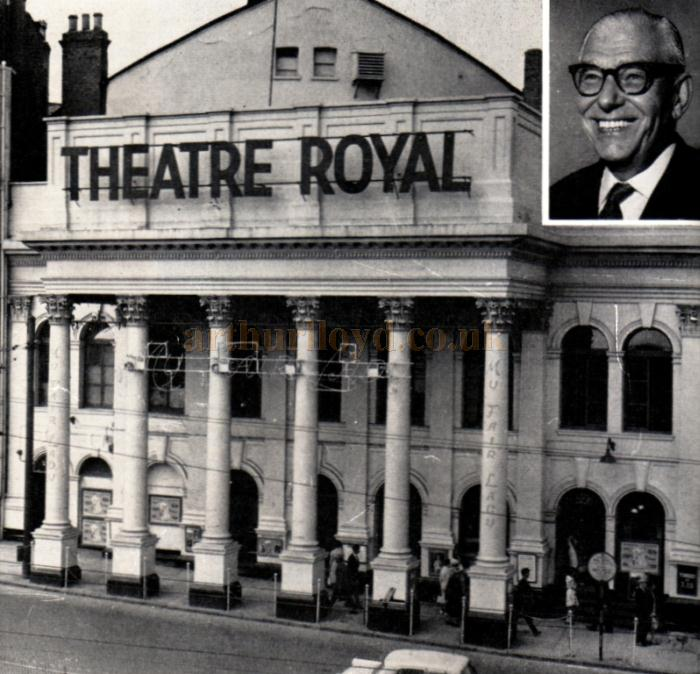 The Theatre Royal with its imposing frontage. Inset: Manager Frank Mathie who came to the Royal from the Empire Theatre, Glasgow.