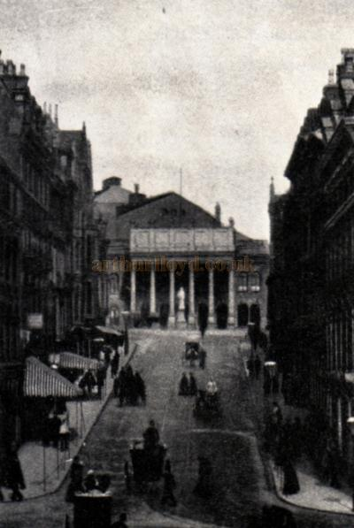 How 19th Century Nottingham saw its Theatre Royal - looking up the brand new Market Street.