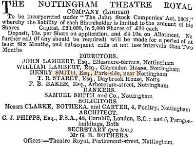 Theatre Royal Share Prospectus 1865