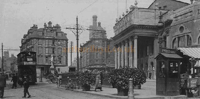 Early postcard of Theatre Square, Nottingham showing the Hippodrome (Centre), the Theatre Royal, (Right), and to the far right of the image, part of the Empire Theatre.