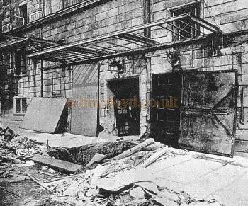 Bomb damage to the Strand Theatre on the 13th October, 1915