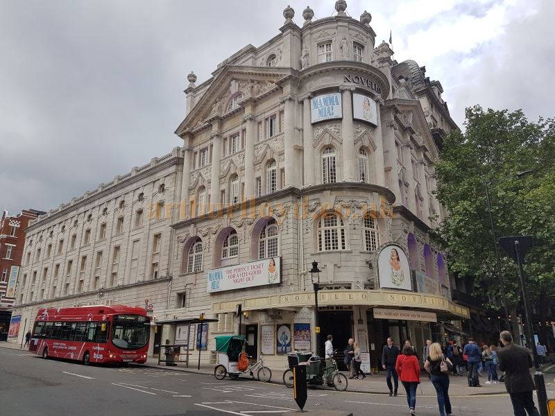 The Novello Theatre during the run of Mamma Mia in June 2016, and after the Theatre's exterior had been renovated
