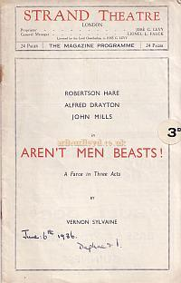 1936 Programme for 'Aren't Men Beasts!' at the Strand Theatre staring John Mills whose picture, from the programme is also shown