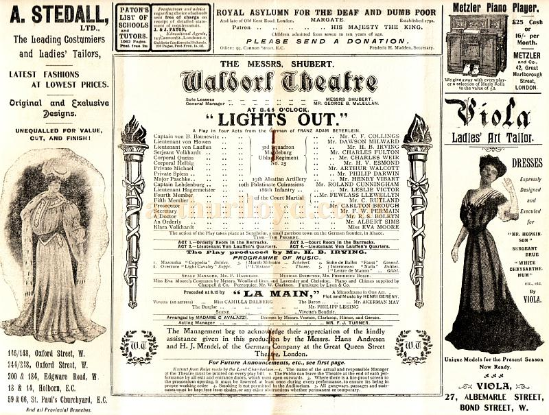A detail from a programme for 'Lights Out' at the Waldorf Theatre in October 1905, one of the first plays to be produced at the Waldorf in its opening year.