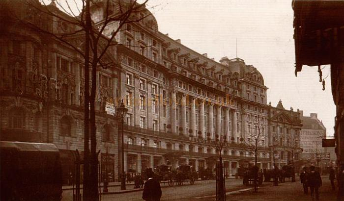 Early postcard showing the Waldorf Theatre and Hotel, and the Aldwych Theatre, far right.