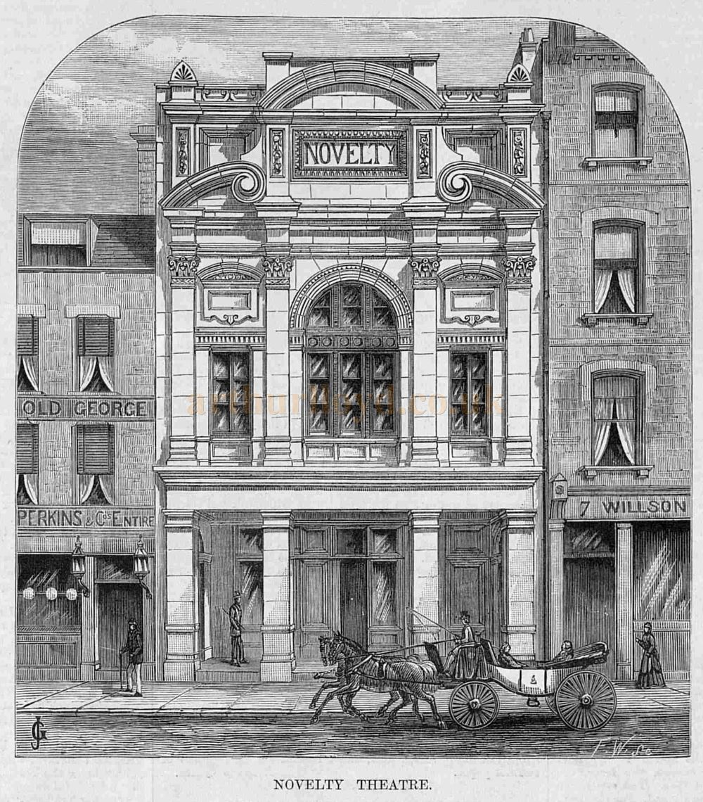 The Novelty Theatre, Great Queen Street, Holborn - From a wood engraving in the Illustrated Sporting and Dramatic News of 1882, and reprinted in Mander & Mitchenson's 'Lost Theatres of London.'
