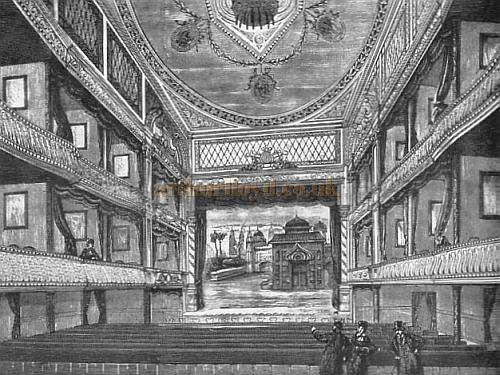 The Auditorium of the Novelty Theatre, Great Queen Street, Holborn - From a wood engraving in the Pictorial World of 1882, and reprinted in Mander & Mitchenson's 'Lost Theatres of London' 1968.