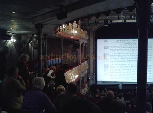 The auditorium of the Old Vic from the Dress Circle during the run of 'The Winslow Boy' in April 2013 - Photo M.L. (Note the un-cantilevered auditorium and its supporting pillars.