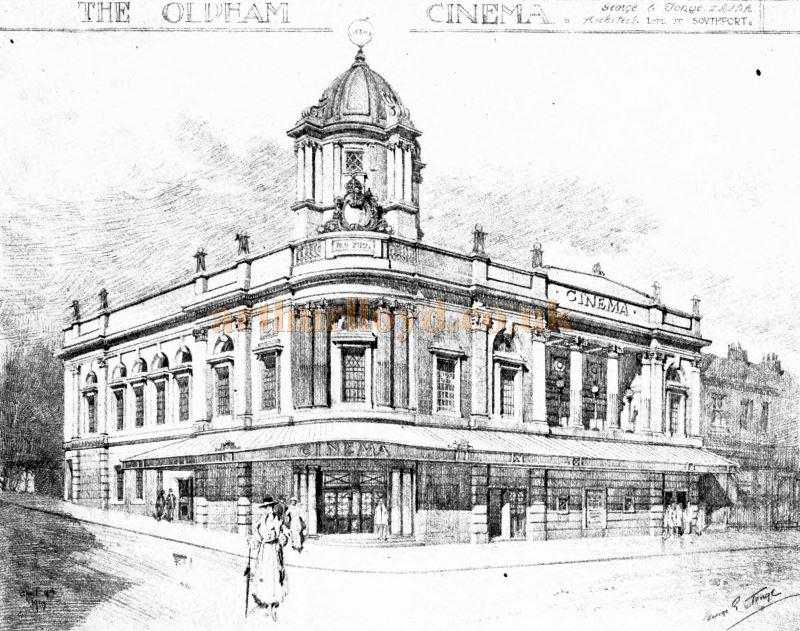 A Sketch of the Grosvenor Super Cinema by its Architect George E. Tonge, which was just called the Oldham Cinema at the time of the drawing - From the Academy Architecture and Architectural review of 1921.