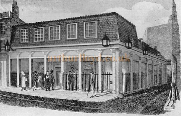 The exterior of the Second Olympic Theatre - From 'Londons lost theatres of the 19th century' by Errol Sherson.