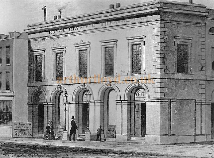 The exterior of the Third Olympic Theatre - From 'Londons lost theatres of the 19th century' by Errol Sherson.