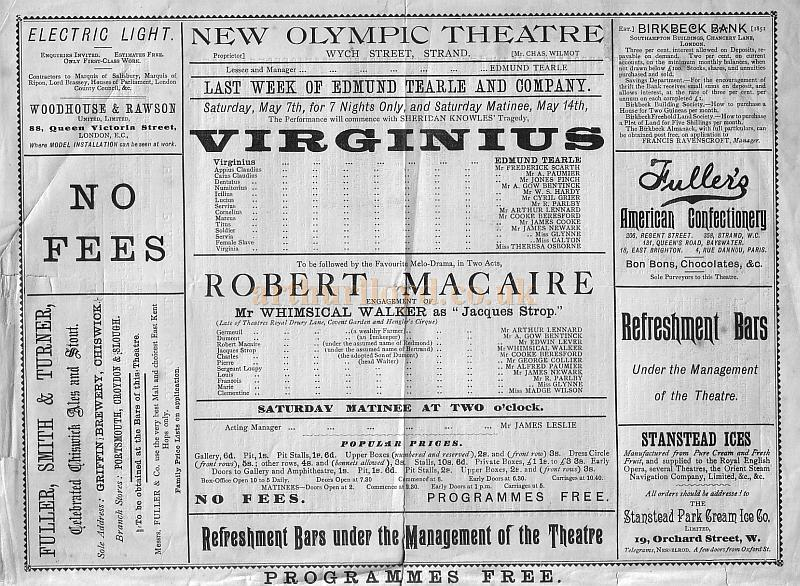 A Programme for 'Virginius' at the New Olympic Theatre for May 14th 1892