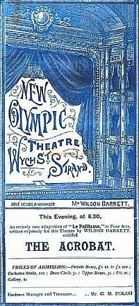 A Programme for 'The Acrobat' at the New Olympic Theatre, Wych Street, Strand in 1890 - Click for details.