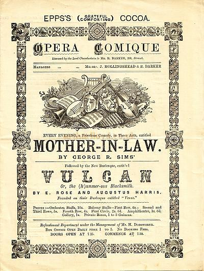 Programme for the Opera Comique - Circa 1885 - Click for details