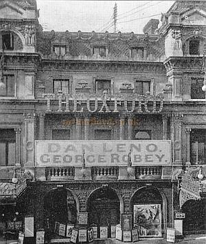 The Oxford Music Hall Frontage with Dan Leno and George Robey on the Bill