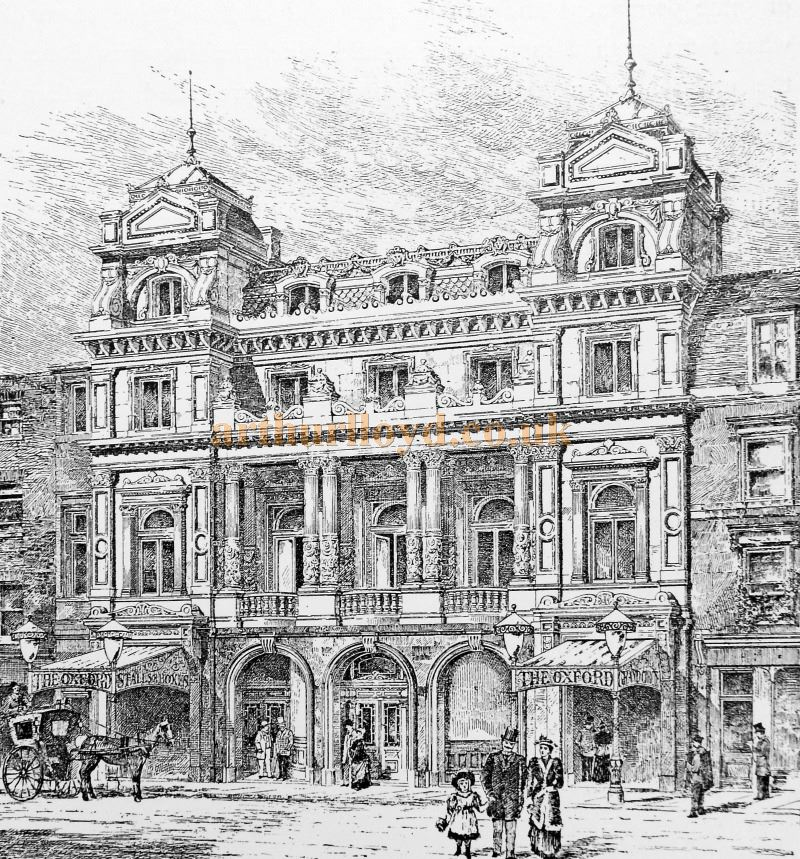 An Engraving showing the Oxford Music Hall - From 'Modern Opera Houses and Theatres' by Edwin O Sachs, Published 1896-1898, and held at the Library of the Technical University (TU) in Delft - Kindly sent in by John Otto.