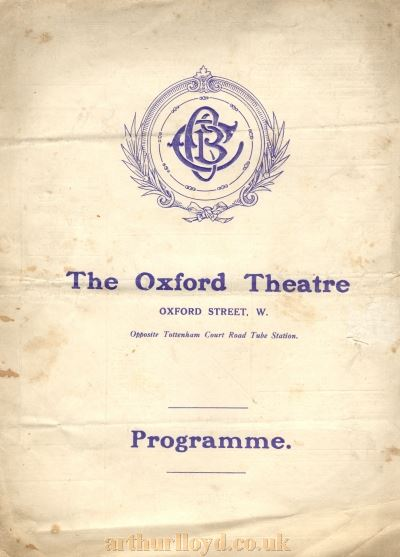A Programme for 'A Temporary Gentleman' at the Oxford Theatre in 1919 - Courtesy Stuart Dagilsh.