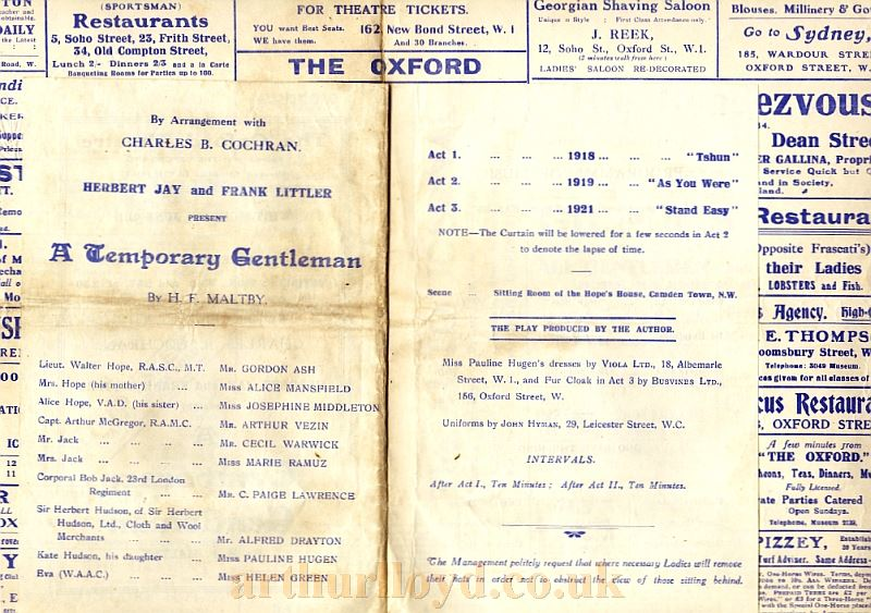 Cast details from a Programme for 'A Temporary Gentleman' at the Oxford Theatre in 1919 - Courtesy Stuart Dagilsh.