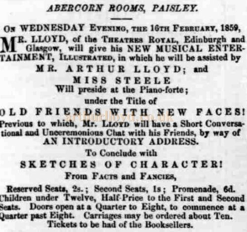 A Newspaper advertisement from the 12th of February 1859 for the Abercorn Rooms featuring Arthur Lloyd.