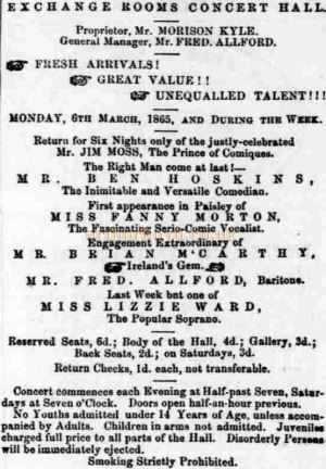 An Advertisement from the 4th of March 1865 for an Exchange Rooms Concert, top-lined by Jim Moss - Courtesy Graeme Smith.