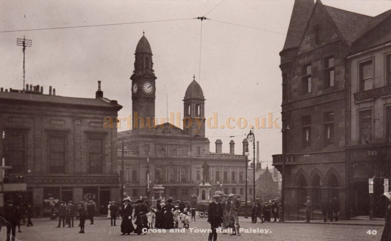 A Postcard showing the Cross and newly opened George A Clark Town Hall around 1890 - Courtesy Graeme Smith.