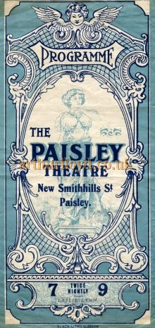 A Programme Cover for the Paisley Theatre in 1930 -  Courtesy the University of Glasgow Scottish Theatre Archive.
