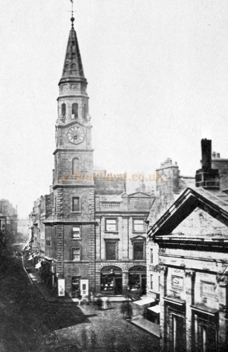 A Photograph of the old Tolbooth Steeple at Paisley Cross and the adjoining Saracen`s Head Inn in the 1860s - Courtesy Graeme Smith.