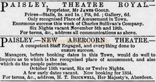 Trade adverts in the Era in October 1883 showing the competition in Paisley; the Theatre Royal, Moss Street vying against the new Abercorn Theatre - Courtesy Graeme Smith.