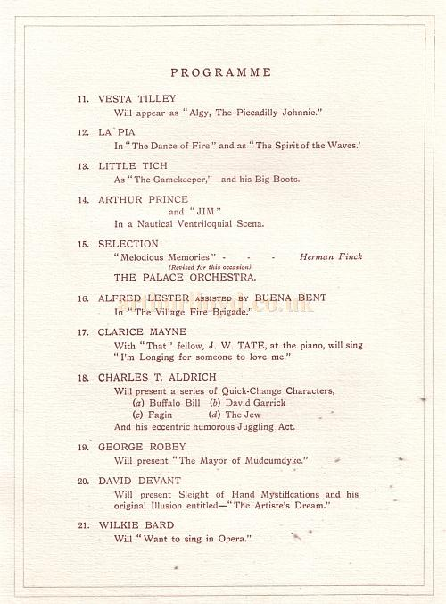 Souvenir Programme for the Royal Command Performance at the Palace Theatre, 1st July 1912