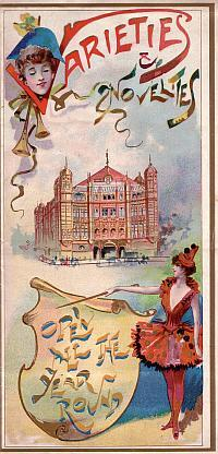 Palace Theatre of Varieties programme for 1894, just two years after opening as a variety theatre. Click to see the entire programme.
