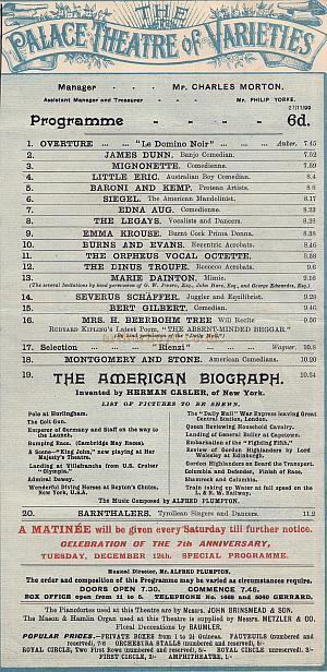 Palace Theatre of Varieties programme detail for 27th November 1899.