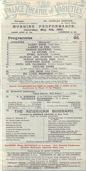 Palace Theatre of Varieties programme detail for 4th May 1901.