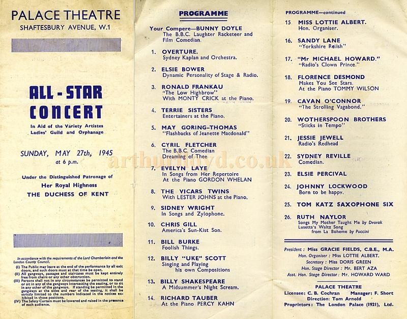 A programme for an 'All Star Concert' at the Palace Theatre during the last year of the Second World War on May the 27th 1945 - Courtesy Tony Craig whose mother Jessie Jewel was on the Bill with her name spelt wrong and featured as 'Radio's Redhead'.