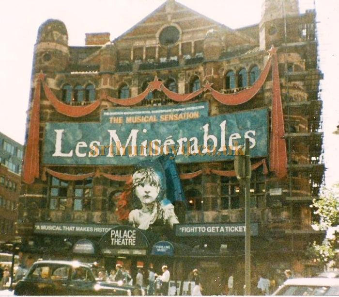 The Palace Theatre in 1986, shortly after the Royal Shakespeare Company's production of 'Les Misérables' opened at the Theatre in 1985 - Courtesy Jason Mullen