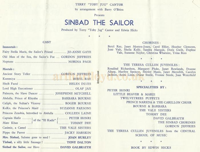 Cast details from a programme for 'Sinbad the Sailor' at the Royal Opera House, Leicester in 1959 - Courtesy David Garratt.