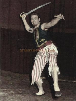 David Galbraith as Sinbad in 'Sinbad the Sailor' at the Royal Opera House, Leicester in 1959 - Courtesy David Garratt.