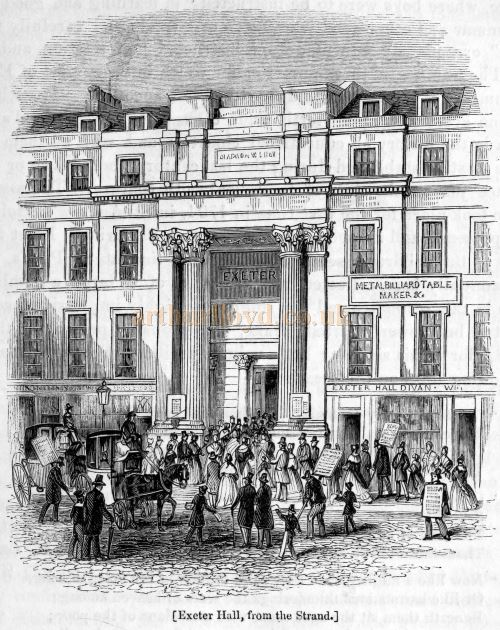 Exeter Hall - From the book 'London' Edited by Charles Knight and Published in 1843.