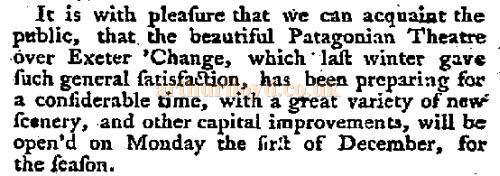 A report in the Morning Post & Daily Advertiser of the 24th of November 1777, on the Patagonian Theatre.