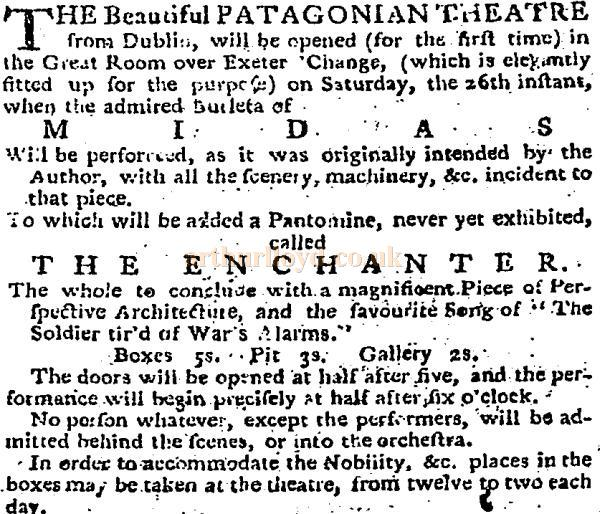 A cutting from The Daily Advertiser of the 22nd of October 1776 reports on the opening of the Patagonian Theatre, Exeter 'Change.