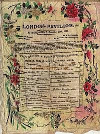 A Silk Programme for Arthur Lloyd at the newly built London Pavilion in 1886 - Click to enlarge.