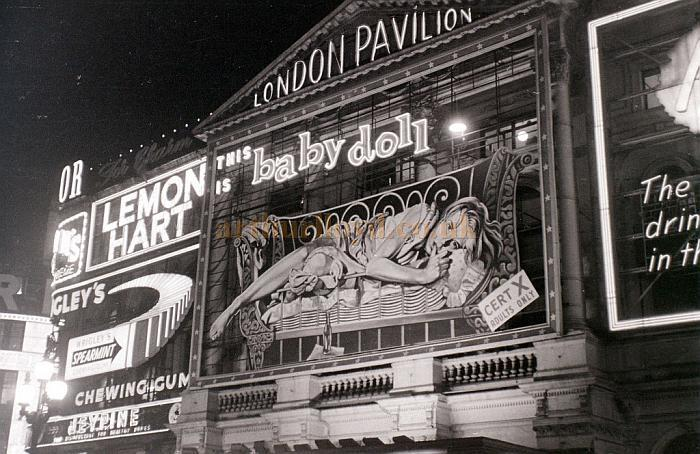 The London Pavilion advertising 'This is Baby Doll' in a photograph taken on the 3rd of January 1957 - Courtesy Allan Hailstone.