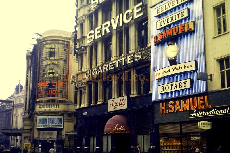 A wonderful Colour Photograph shot in Coventry Street in 1959 / 60 showing the corner of the London Pavilion during the run of the film 'Some Like It Hot'  -  Courtesy Lyle K. Anibal