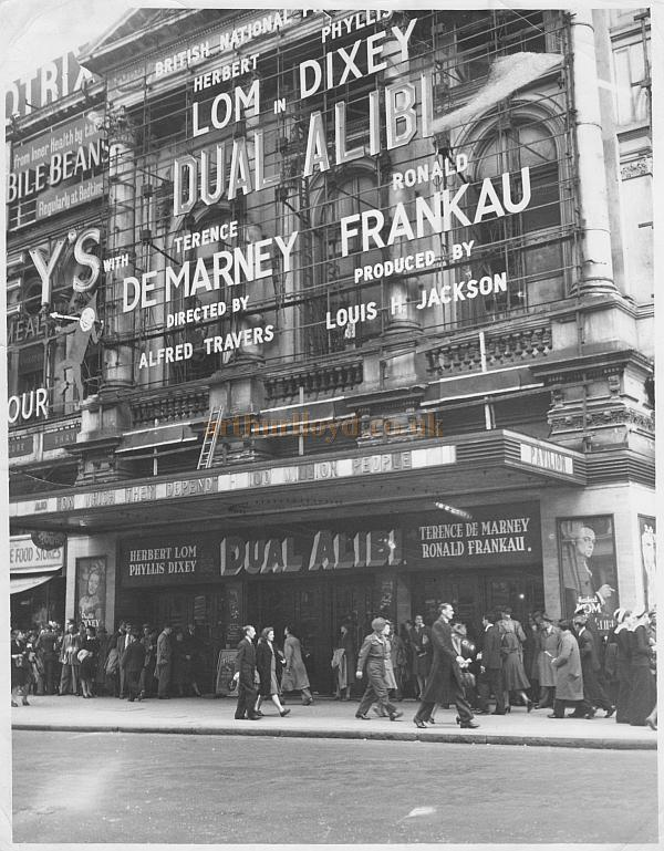 The London Pavilion during the run of 'Dual Alibi' with Herbert Lom and Phyllis Dixey in 1947 - Courtesy Oliver Dixey