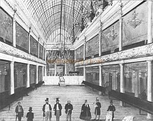 The auditorium of the first London Pavilion Music Hall after it had been enlarged several times and galleries had been added in 1862.
