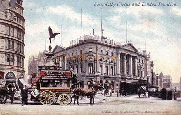 Early postcard of the London Pavilion, Piccadilly Circus, London.
