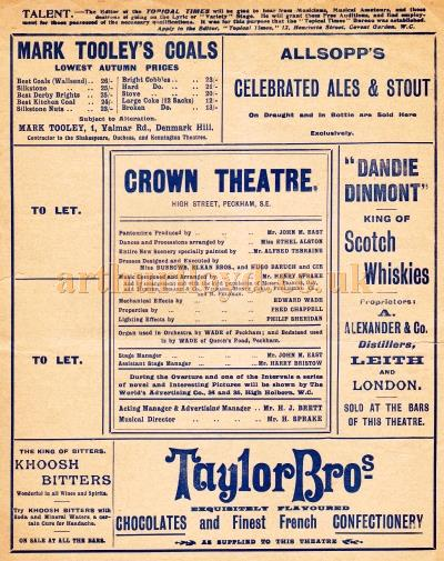 An undated programme for 'Dick Whittington' at the Crown Theatre, Peckham.